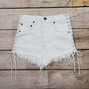 Carmar White Boho Lace Up High Rise Jean Shorts